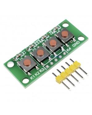 3pcs 1×4 4 Keys Button 5 Pin Keypad Keyboard Module Mcu Board for Student Class Design Graduation Project Experiment DIY Kit